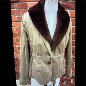 J Crew Collection Chino Jacket Faux Fur Collar